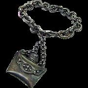 BG309 Vintage Napier Sterling Silver or Plated Antiqued Perfume Bottle Vial Pendant Charm & Charm Bracelet