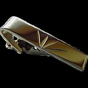 BG793 Vintage Diamond Etched Sterling Silver Tie Bar Clasp Clip Simple Elegance
