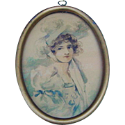 Edwardian Lady Watercolor Portrait Painting Framed Antique Art Gibson Girl