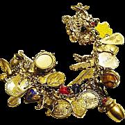 BG43 Vintage Sterling Silver Charm Bracelet 33 Charms Mechanical Enamel Rhinestone Perfume 3D