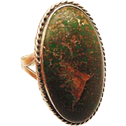 BG84 Bold Well Made 1.25inch x .70inch Bloodstone Sterling Silver Ring Vintage