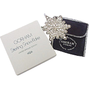 BG19 1971 Gorham Sterling Silver Snowflake Pendant or Christmas Ornament in Box Vintage