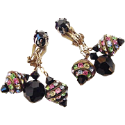 SALE BG73 Stunning Black Crystal & Pastel Rhinestone Rondelles Vintage Dangle Earrings Clips
