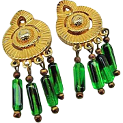 SALE BG205 Lucien Piccard Green Art Glass Dangle Earrings Runway Couture Clip On