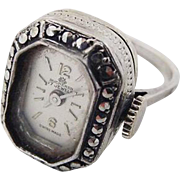 SALE BG32 Bucherer Sterling Silver Marcasite Ladies Watch Ring 17 Jewels Swiss Vintage