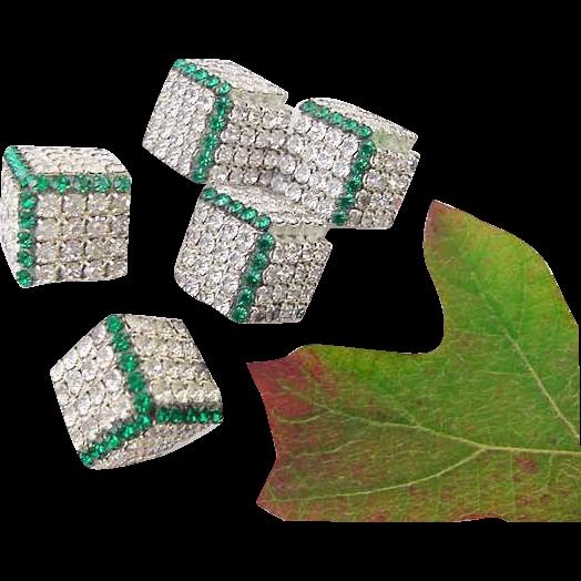 BG26 Art Deco Emerald Green & Clear Ice Crystal Rhinestone