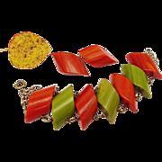 SALE BG22 Chunky Tested Bakelite Early Plastic Marbled Green & Rust Orange Bracelet & Clip Ear