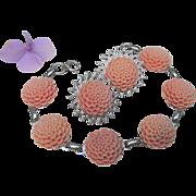 Vintage Molded Celluloid Plastic Faux Carved Coral Flower Bracelet Earrings Set
