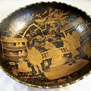 Antique Papier Mache Bowl - Oriental Court Scenes - 19th Century