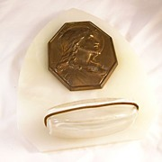 Reduced! Lovely Marble French Holy Water Font - Jesus - vintage
