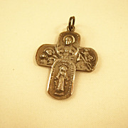 Detailed Four Way Catholic Religious Medal in Sterling Silver