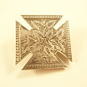 Aesthetic Sterling Silver Maltese Cross Victorian Brooch