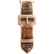 Scottish Buckle Brooch - Victorian - Sterling & Moss Agate