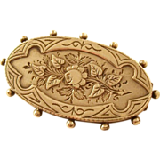 Sterling Silver Brooch with Rose Motif - English, 1894