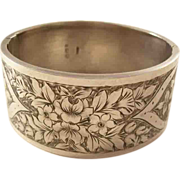 Lovely Victorian Sterling Silver Bangle Bracelet - Flowers, 1883