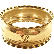 """Late Victorian Sterling Silver Napkin Ring - Initial """"B"""""""