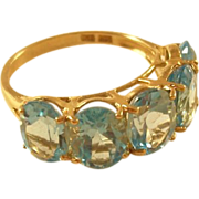 Vintage Blue Topaz Ring - 10 kt gold - Gorgeous!