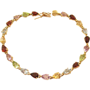 Vintage Multi-Gemstone Tennis Bracelet - 10 Kt Gold