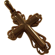 Victorian Vulcanite Cross Pendant - Mourning Piece