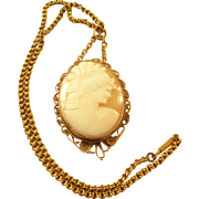 Vintage Carved Cameo Necklace - English, 1920's