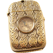 Wonderful Antique Victorian Vesta with inset Compass - English, Silver Gilt