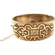 Sterling Victorian Bangle Bracelet - Celtic Design - 1876