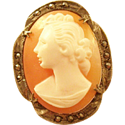 Charming Carved Cameo Brooch set in 800 Silver Mount with Marcasite Accents