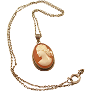 Vintage Carved Cameo Necklace on Sterling Silver chain - English