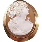 Beautiful Master Carved Shell Cameo Brooch - 9 carat gold mount