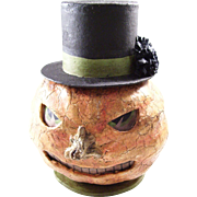 Fabulous early German Halloween Candy Container - Jack O'Lantern with Top Hat