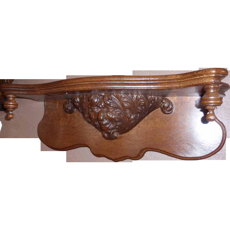 Figural Carved American Oak Clock Shelf
