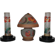 Exceptional and Rare Bellova Cut Back Poppy Lamp Set