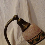 Beautiful Etched and Painted Bellova Boudoir Lamp.