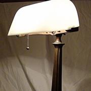Emeralite Desk Lamp with Rare White  Shade