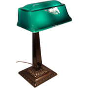 Emeralite #9 Desk Lamp with Rare Form Shade