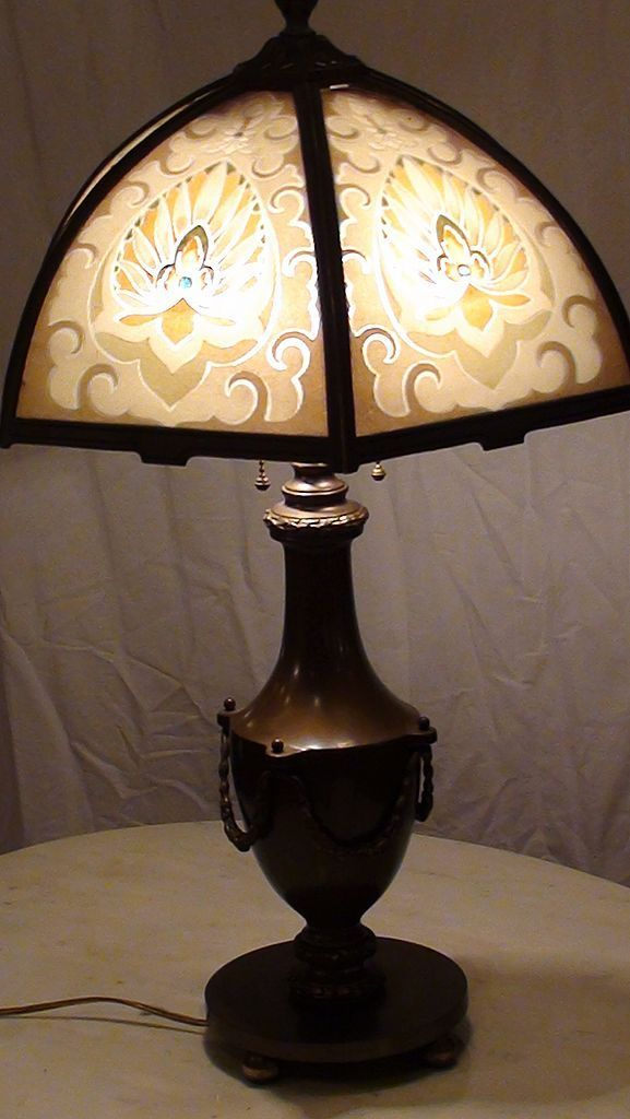 Bradley Amp Hubbard Reverse Painted Slag Glass Lamp From