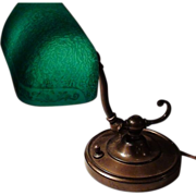 Fancy Green Etched Shade Emeralite #7 Lamp