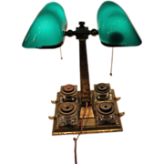 Emeralite Partners Desk Lamp with 4 Inkwells