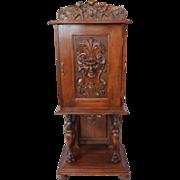 SALE Heavily Carved Quartersawn Oak Parlor Cabinet