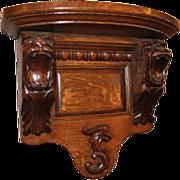 Oak Lion Carved Clock Shelf