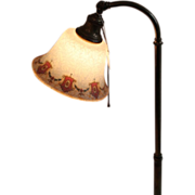 Etched, Reverse Painted Bellova Floor Lamp