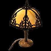 SOLD Bradley & Hubbard Slag Glass Table Lamp