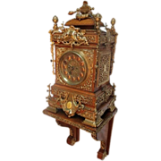 Large Extraordinary Carved Oak and Brass Mounted Bracket Clock by Dent with Matching Carved ..