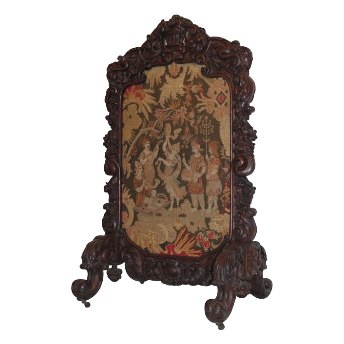 Magnificent American Oak Floral Carved Firescreen