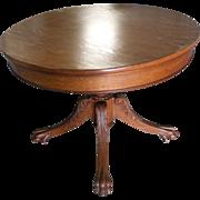 Fancy Oak Claw Foot  Breakfast/ Game Table