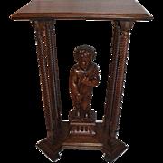 SALE PENDING Quartersawn Cherub Carved Oak Clock Stand