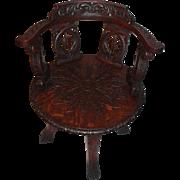Heavily Carved Quartersawn Oak Revolving Desk Chair
