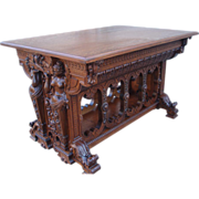 SALE Magnificent Large and Ornately Carved ANTIQUE Oak Center Table.