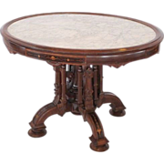 SOLD 1860's American Rosewood Renaissance Revival Victorian Marble Top Center Table
