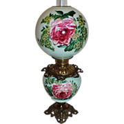 Wonderful Gone with the Wind Oil Lamp ~Hand Painted Masterpiece~ Breathtaking BEAUTY WITH Rose
